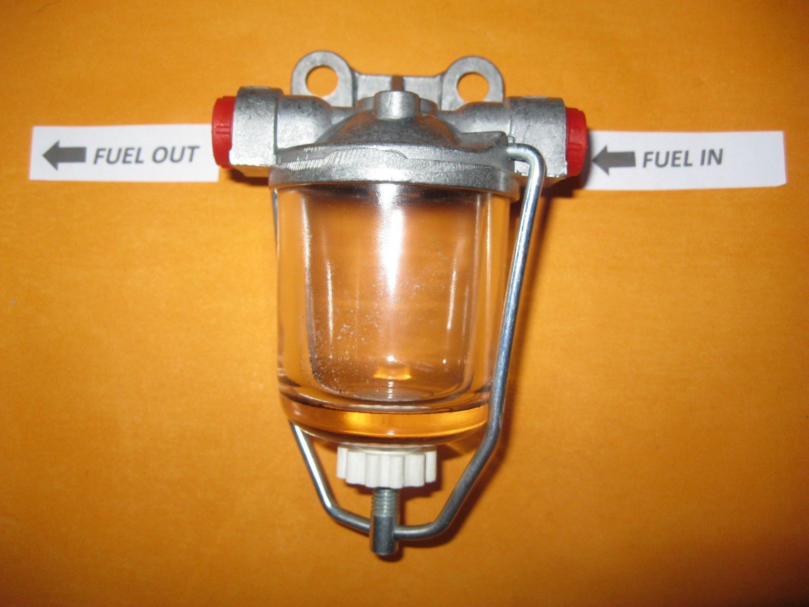 AUSTIN MORRIS MG WOLSELEY RILEY (AC DELCO TYPE) GLASS BOWL HIGH FLOW FUEL  FILTER